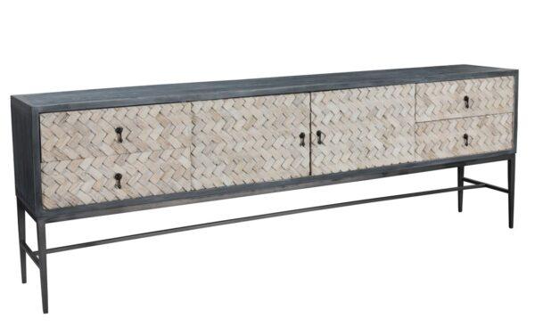 Herringbone long sideboard with iron legs