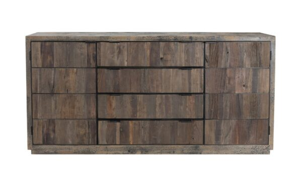 Recycled wood buffet console with doors and drawers