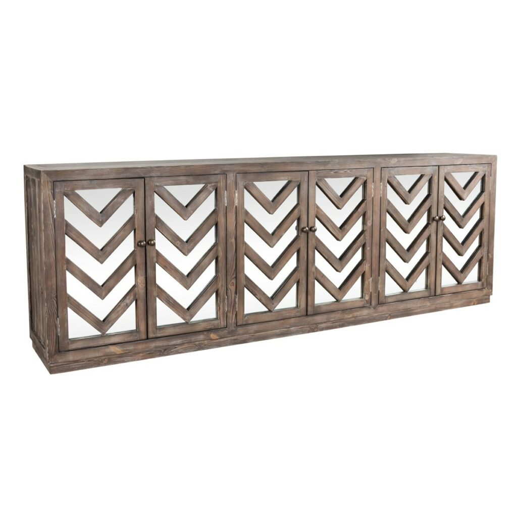 Melbourne Chevron Wood Mirrored Sideboard