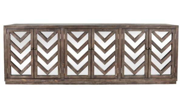 Wood and mirror sideboard with geometrical design front view