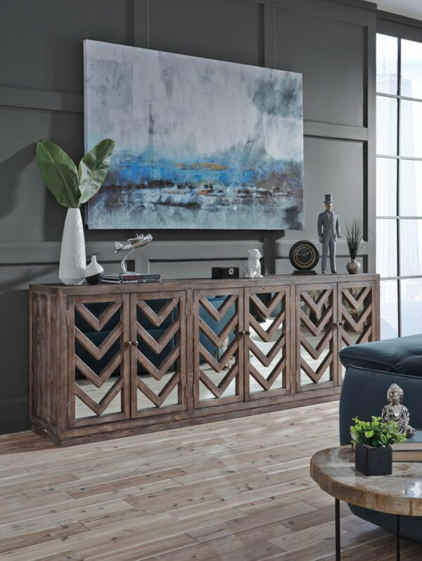 Wood and mirror sideboard with geometrical design