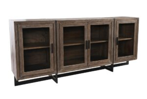 Yorkville Reclaimed Wood and Iron Glass Cabinet