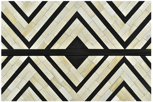 Black and white bone inlay small dresser finishing closeup view