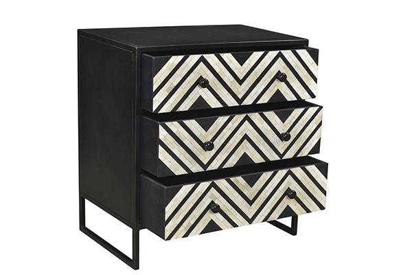 Black and white bone inlay small dresser