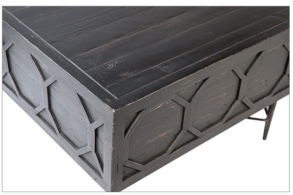 Black coffee table with iron base close view
