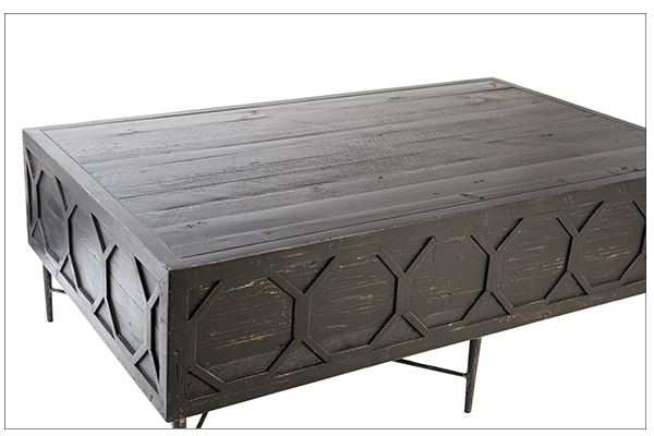 Black coffee table with iron base