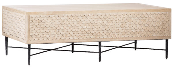 White wash wood coffee table with metal base