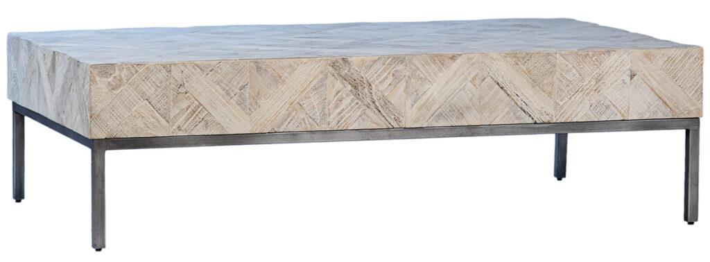 Ortiz Reclaimed Wood White Wash Low Coffee Table
