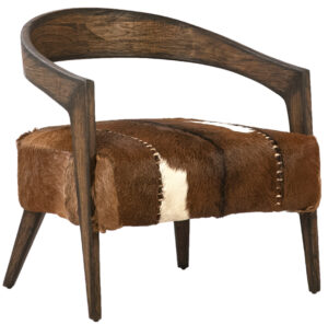Liara Goat Hide and Wood Accent Chair, Set of 2