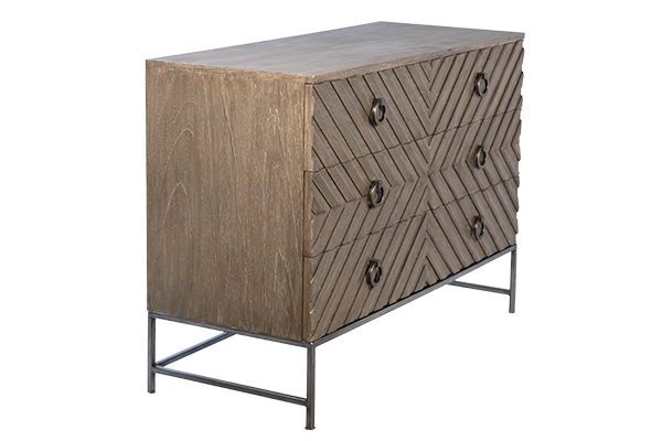 Small wood dresser with iron base