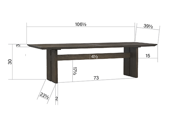 Bendigo Oak Wood Dining Table view with dimensions