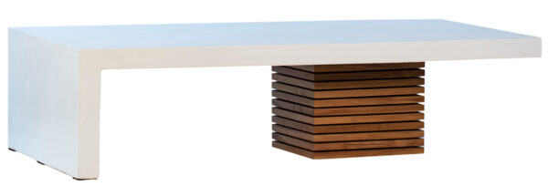 White concrete and wood coffee table