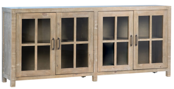 Low cabinet media console with glass doors front view