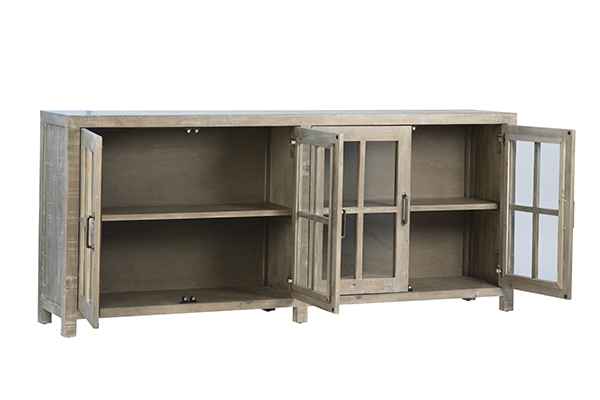 Low cabinet media console with opened glass doors