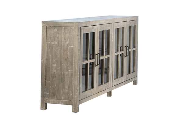 Low cabinet media console with glass doors side view