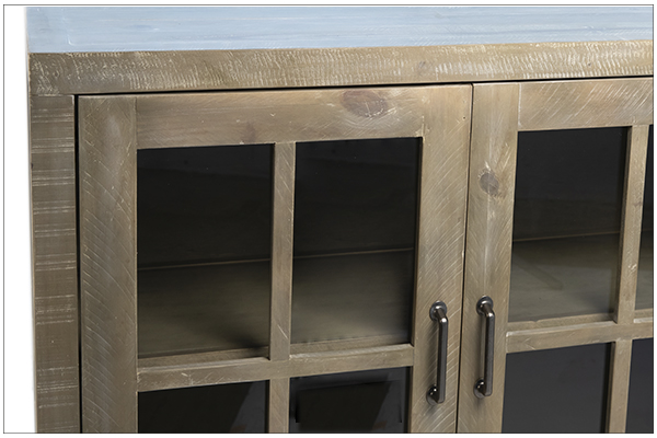 Low cabinet media console with glass doors