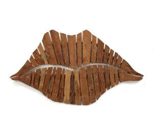 Teak Wood Lips Wall Art