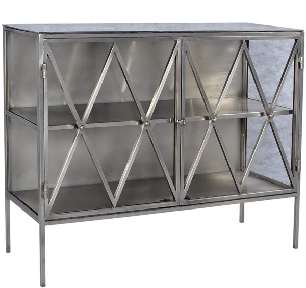 Silver metal cabinet with glass front and sides