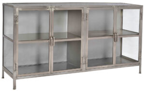 Larsa Metal and Glass Sideboard Media Cabinet
