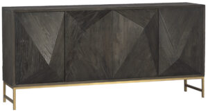 Bolzano Dark Elm Wood Sideboard With Brass Finish Iron Base