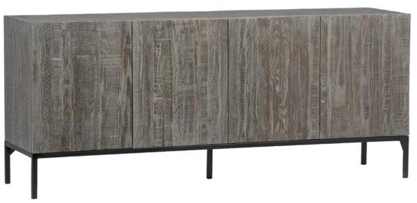 Reclaimed Oak TV Cabinet with Iron Base front view