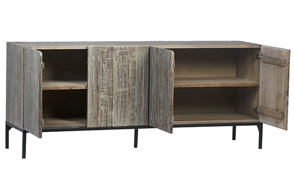 Reclaimed Oak TV Cabinet with Iron Base