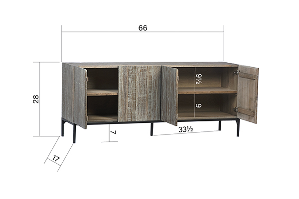Reclaimed Oak TV Cabinet with Iron Base with opened doors