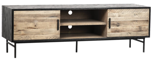 Oak TV Cabinet Media Console with Iron Base front view