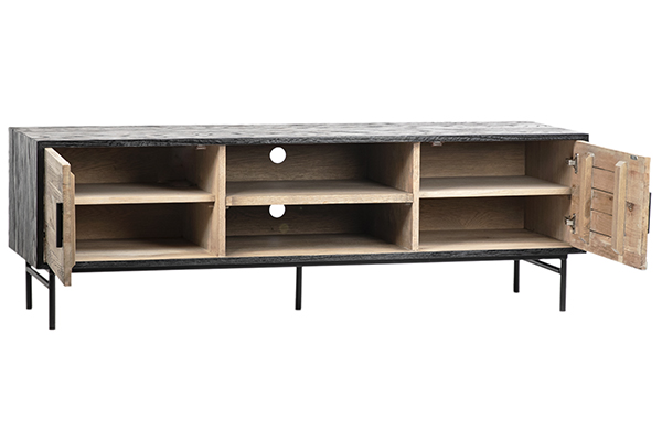 Oak TV Cabinet Media Console with Iron Base front view with open doors