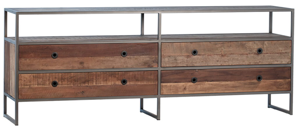 Reclaimed Wood TV Cabinet with Drawers