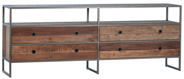Reclaimed Wood TV Cabinet with Drawers front view