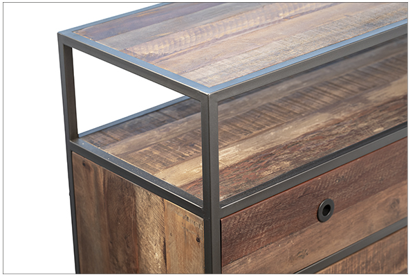 Reclaimed Wood TV Cabinet with Drawers top corner view