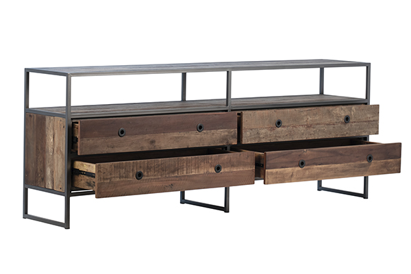 Reclaimed Wood TV Cabinet with Drawers with open draws