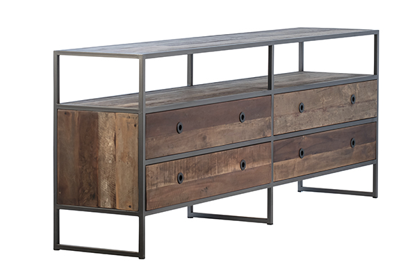 Reclaimed Wood TV Cabinet with Drawers side view