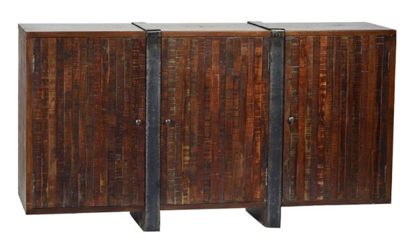 Reddish tone reclaimed wood and iron sideboard
