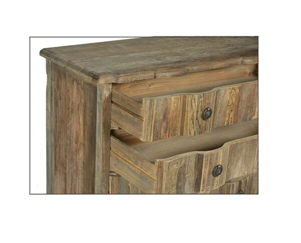 Reclaimed wood dresser with 3 drawers and scalloped top detail open drawer