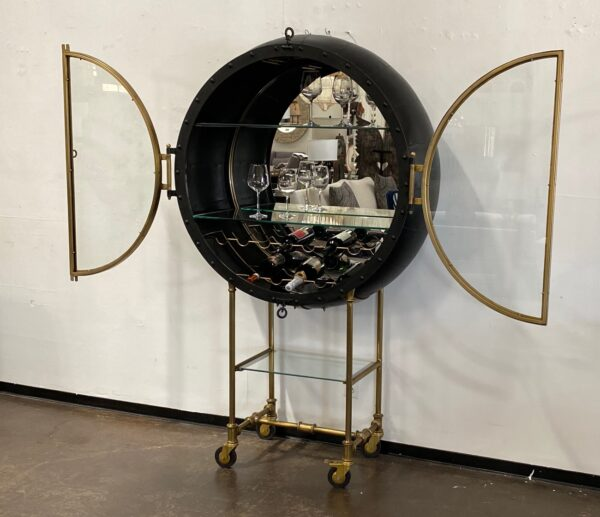Large Porthole bar cabinet on casters with opened doors view