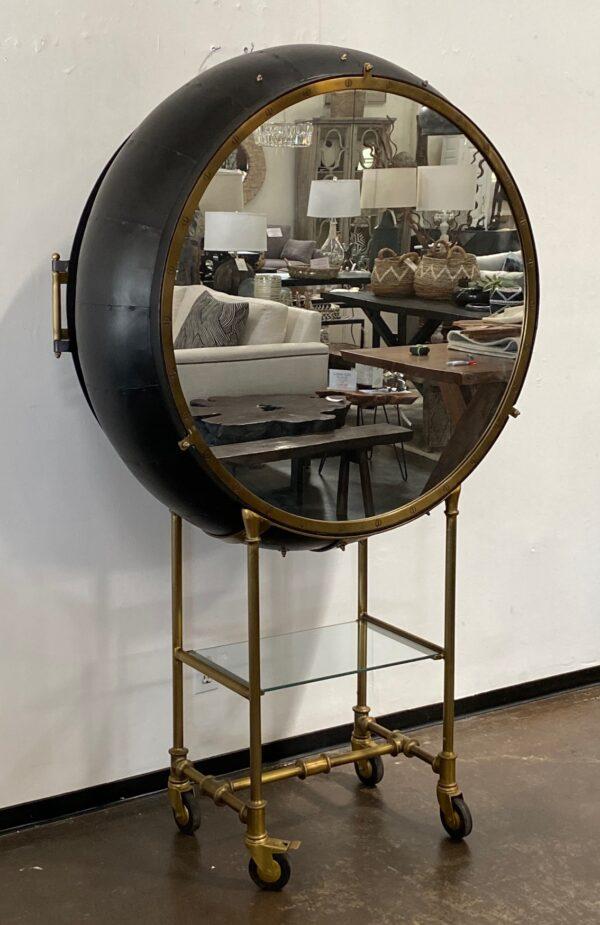 Large Porthole bar cabinet on casters