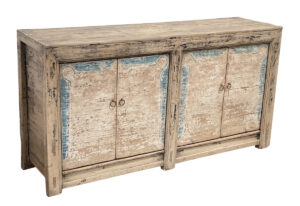 Rustic Whitewash and Blue Sideboard Cabinet Media Console