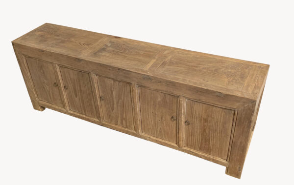 Long natural color wood sideboard cabinet media console with 4 doors top view