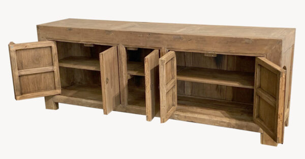 Long natural color wood sideboard cabinet media console with 4 doors opened