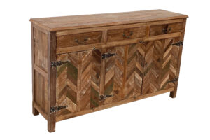 Reclaimed Wood Chevron Design Storage Cabinet