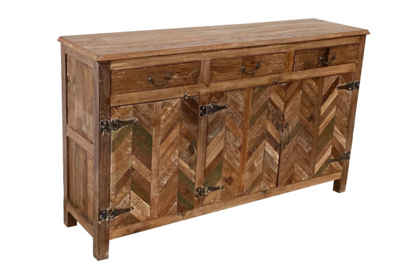 Wood cabinet with chevron design and 3 top drawers