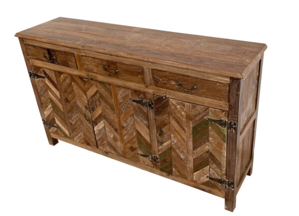 Wood cabinet with chevron design and 3 top drawers side view