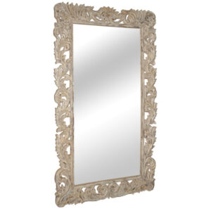 Large Carved Whitewash Mirror