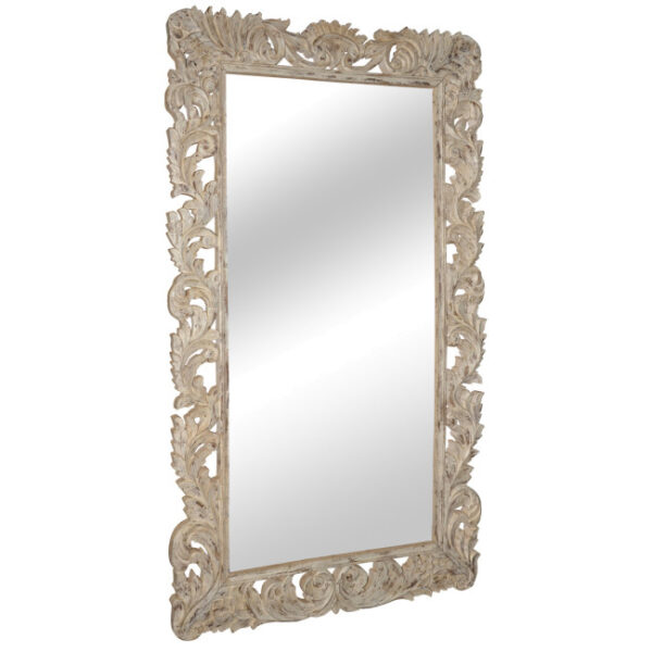 Large white mirror with ornate frame