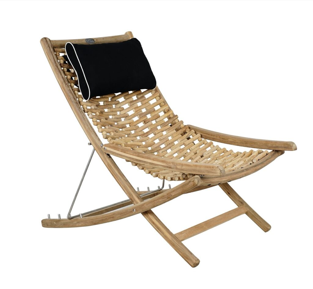 Outdoor Foldable Teak Chaise Lounge Set of 2