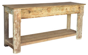 Distressed Whitewash Carved Console Table