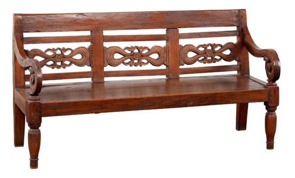 Teak wood bench from Java in dark finish