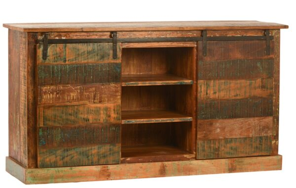 Rustic sideboard cabinet with sliding doors and shelves